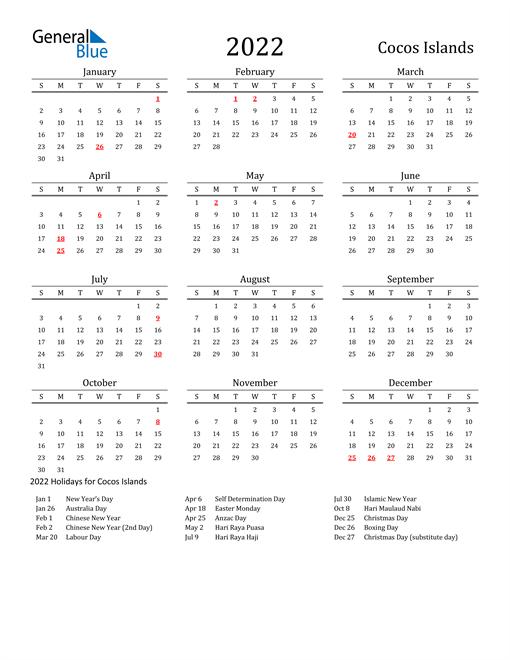 Cocos Islands Holidays Calendar for 2022