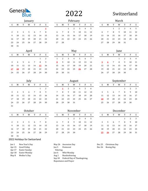 Switzerland Holidays Calendar for 2022