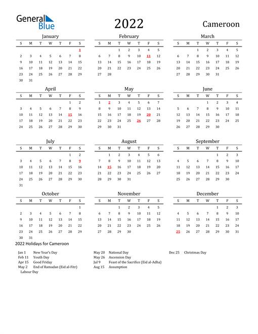 Cameroon Holidays Calendar for 2022