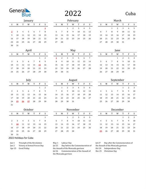 Cuba Holidays Calendar for 2022