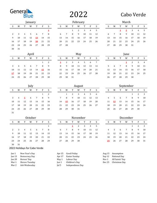Cabo Verde Holidays Calendar for 2022