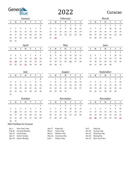 Image of 2022 Printable Calendar Classic for Curacao with Holidays
