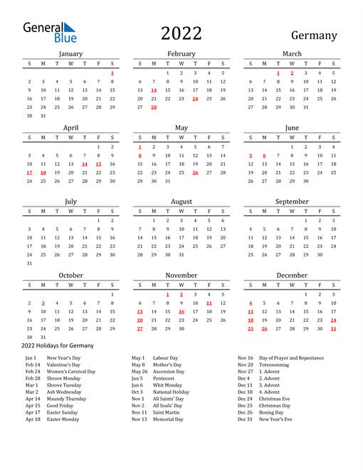 Germany Holidays Calendar for 2022