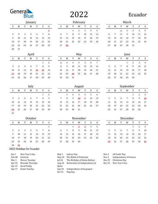 Ecuador Holidays Calendar for 2022