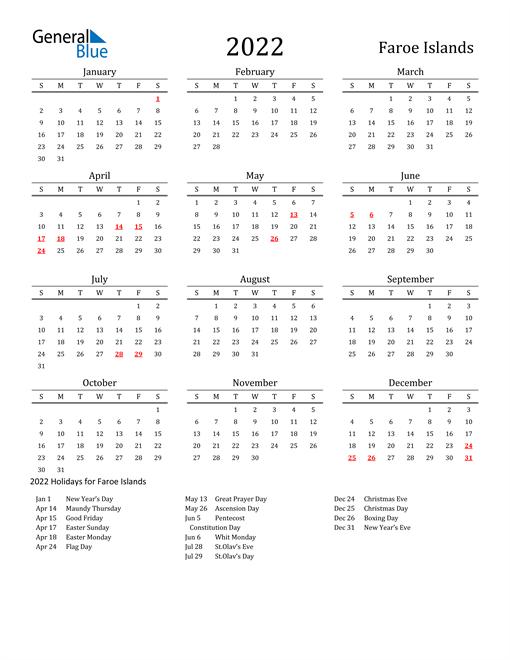 Faroe Islands Holidays Calendar for 2022