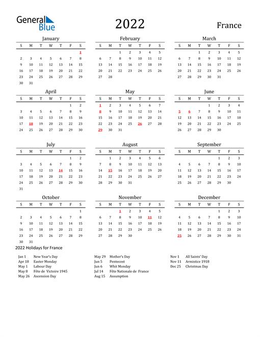 France Holidays Calendar for 2022
