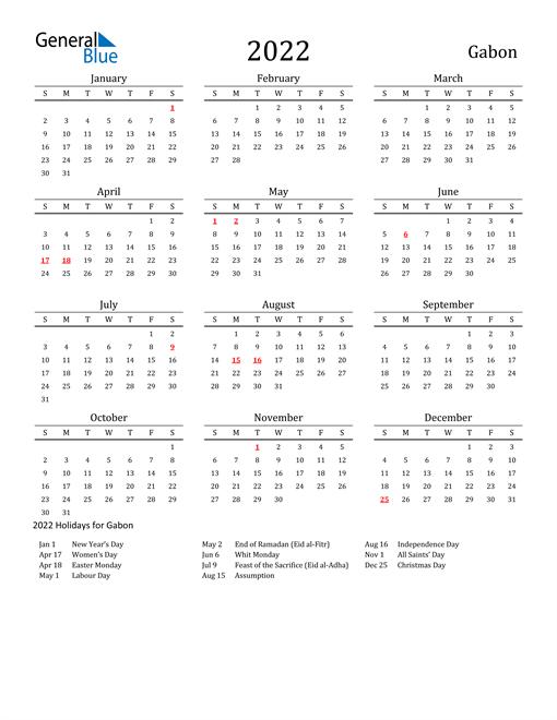 Gabon Holidays Calendar for 2022