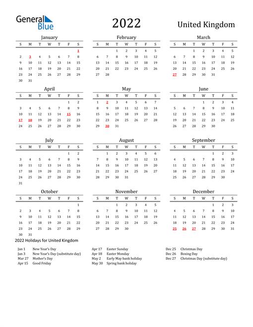 United Kingdom Holidays Calendar for 2022