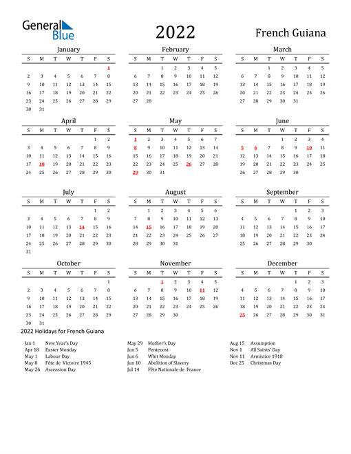 French Guiana Holidays Calendar for 2022