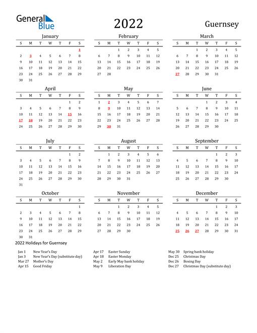Guernsey Holidays Calendar for 2022