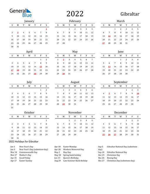 Gibraltar Holidays Calendar for 2022