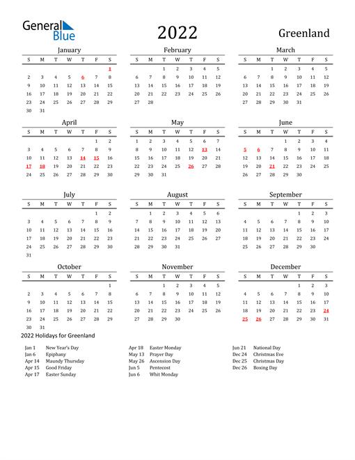 Greenland Holidays Calendar for 2022