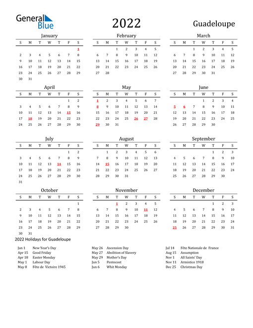 Guadeloupe Holidays Calendar for 2022