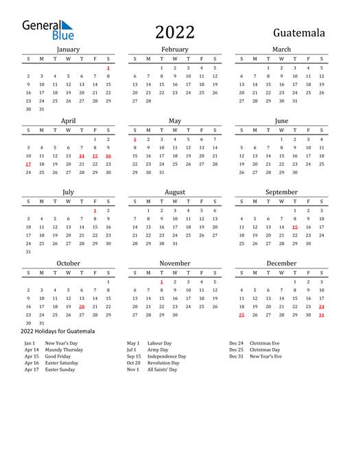 Guatemala Holidays Calendar for 2022