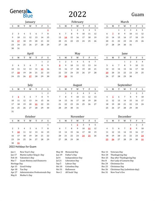 Guam Holidays Calendar for 2022