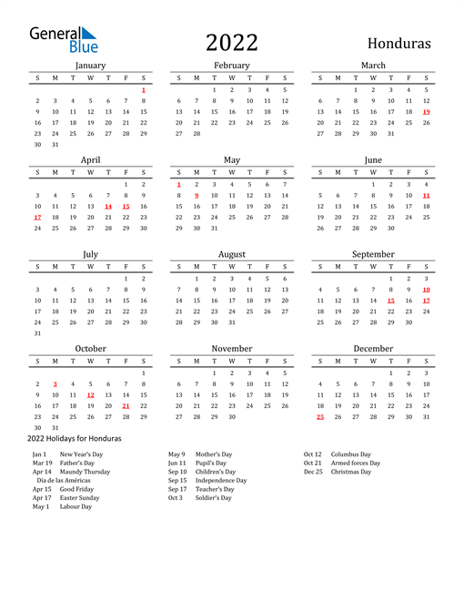 Image of 2022 Printable Calendar Classic for Honduras with Holidays
