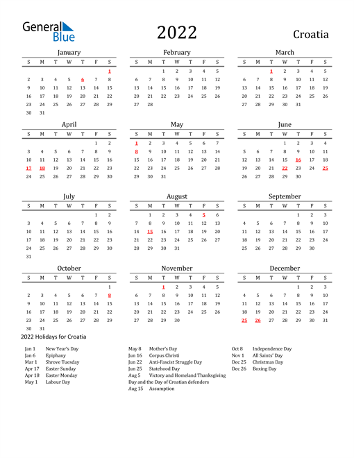 Croatia Holidays Calendar for 2022