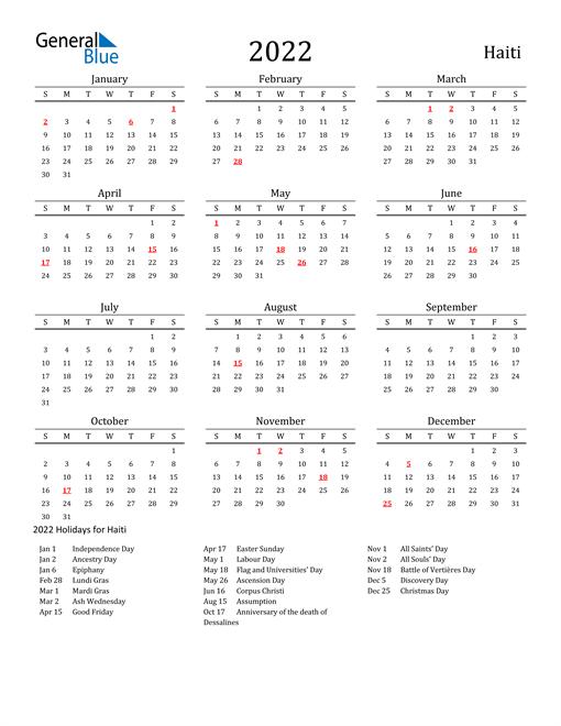 Haiti Holidays Calendar for 2022