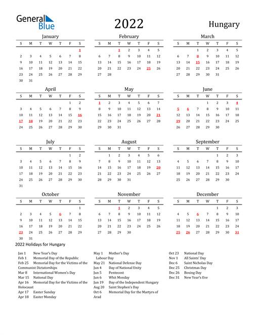 Hungary Holidays Calendar for 2022
