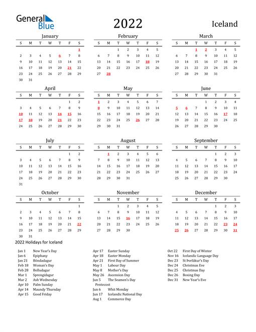 Iceland Holidays Calendar for 2022