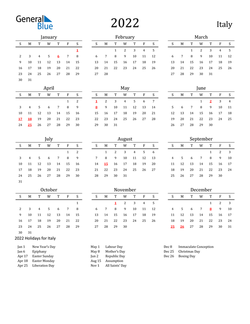 2022 Calendar - Italy with Holidays