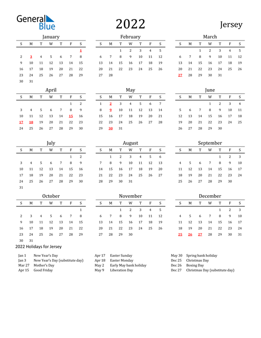 Jersey Holidays Calendar for 2022