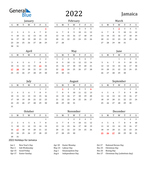 Image of 2022 Printable Calendar Classic for Jamaica with Holidays