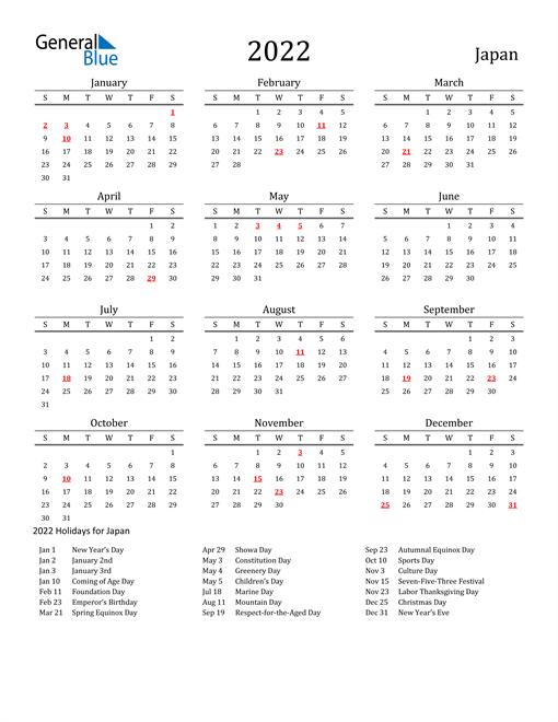 Japan Holidays Calendar for 2022