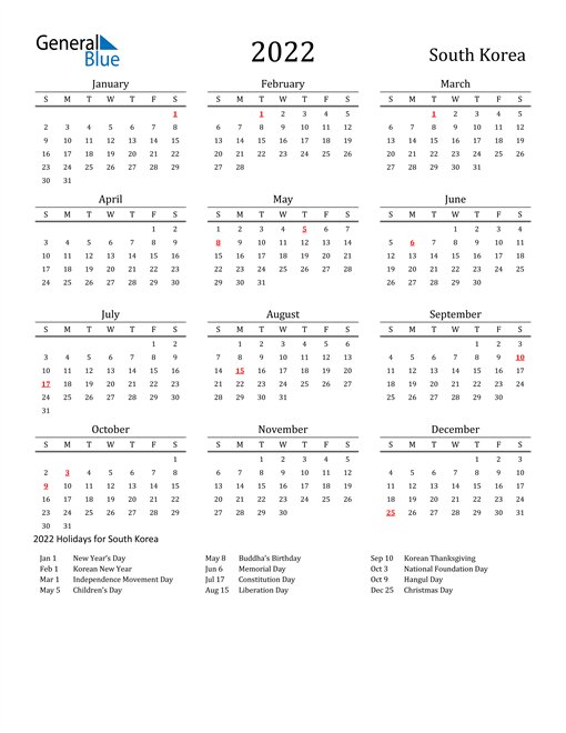 South Korea Holidays Calendar for 2022