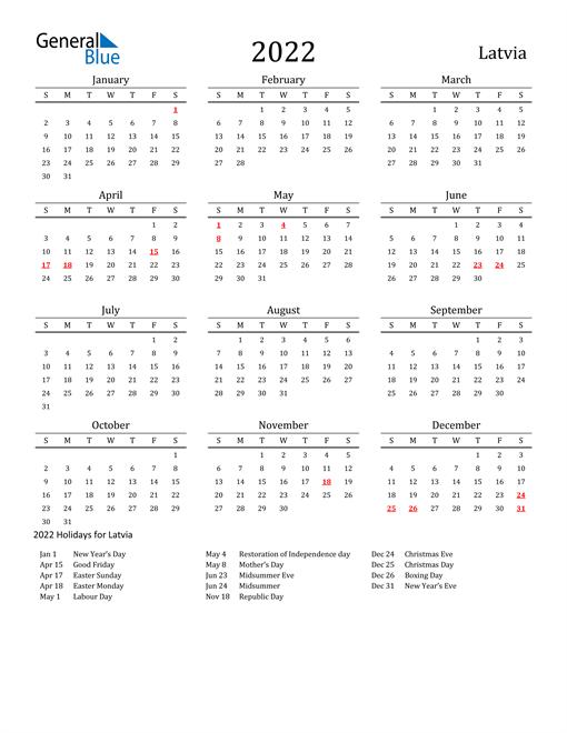 Latvia Holidays Calendar for 2022