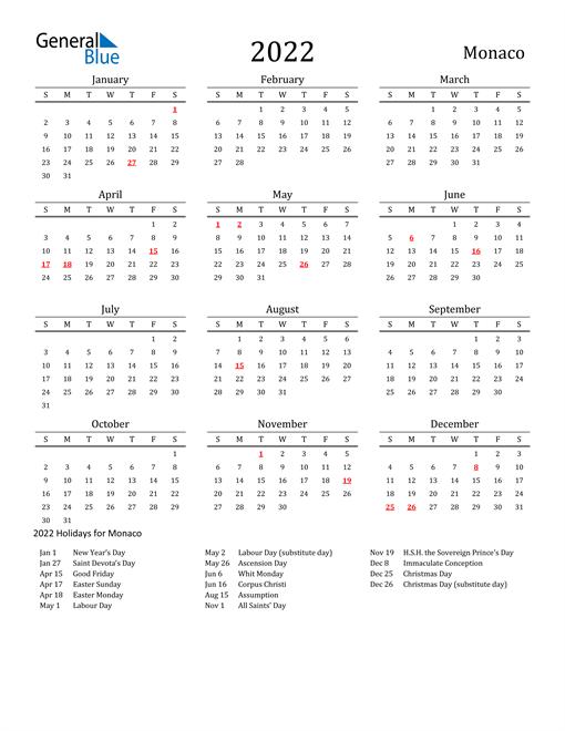 Monaco Holidays Calendar for 2022