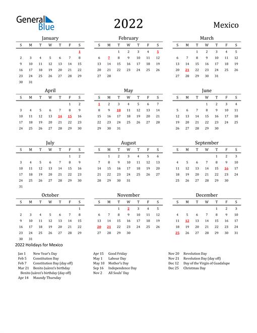 Mexico Holidays Calendar for 2022