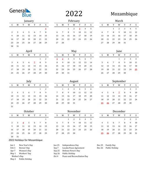 Mozambique Holidays Calendar for 2022