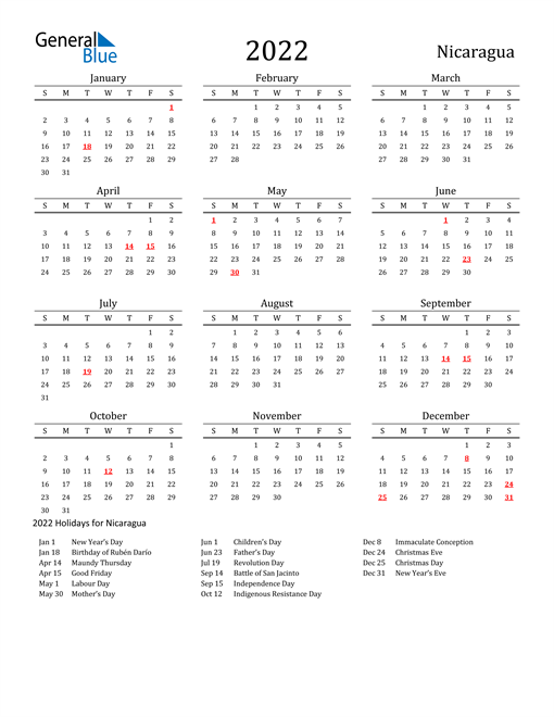 Nicaragua Holidays Calendar for 2022