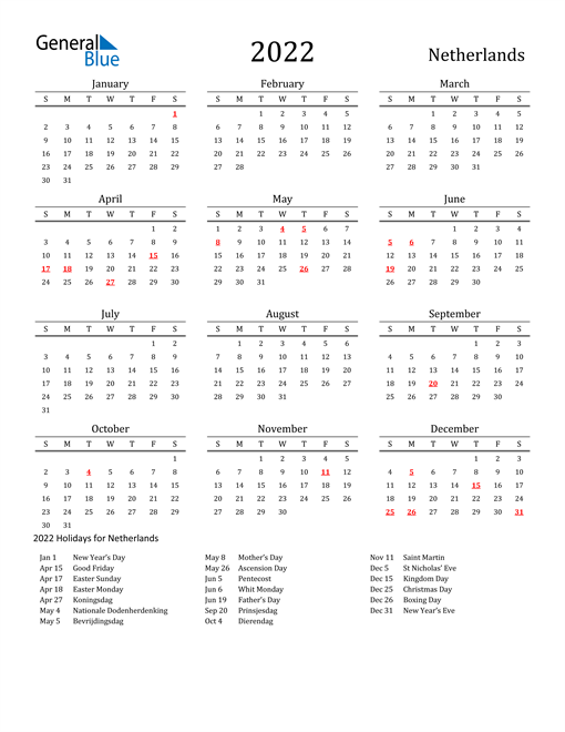 Netherlands Holidays Calendar for 2022
