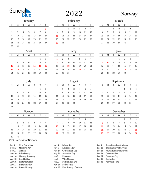 Norway Holidays Calendar for 2022