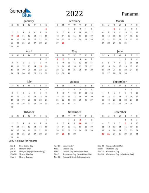 Panama Holidays Calendar for 2022
