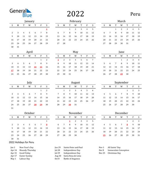 Image of 2022 Printable Calendar Classic for Peru with Holidays