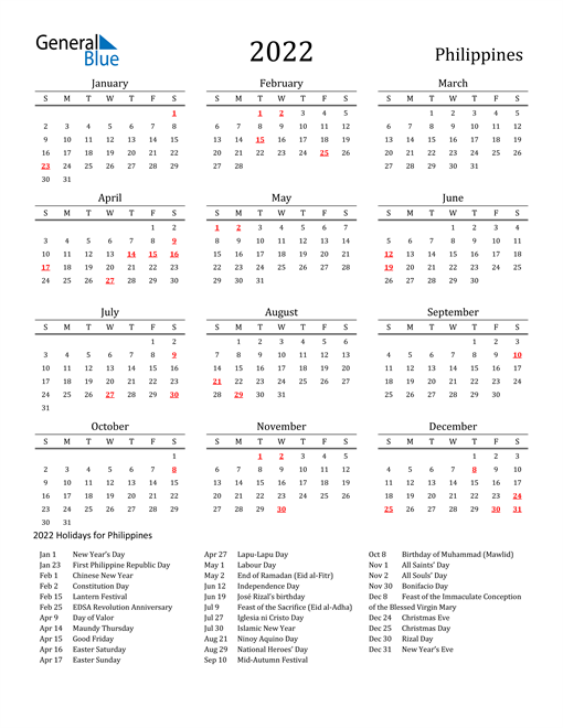 Philippines Holidays Calendar for 2022