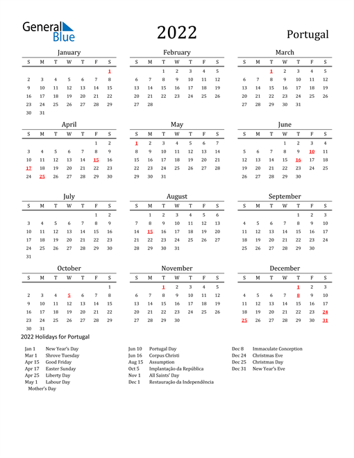 Portugal Holidays Calendar for 2022