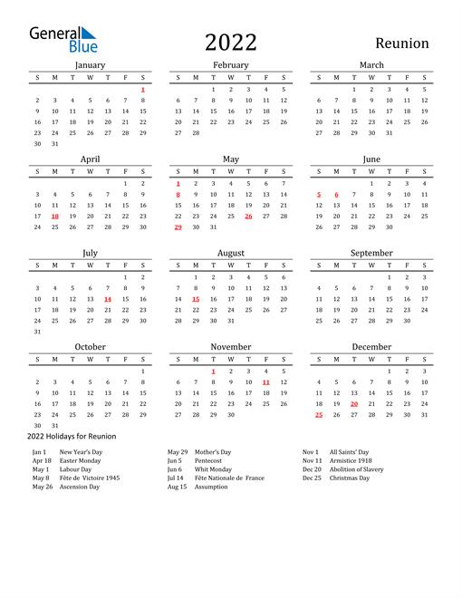 Reunion Holidays Calendar for 2022