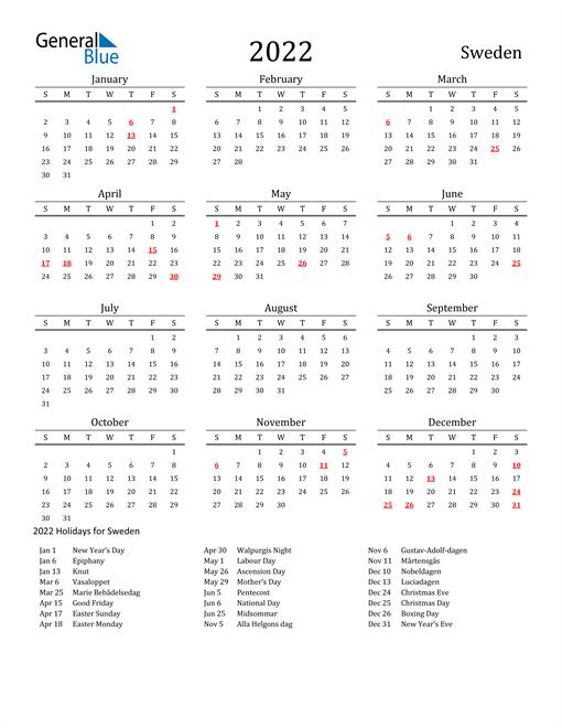 Sweden Holidays Calendar for 2022