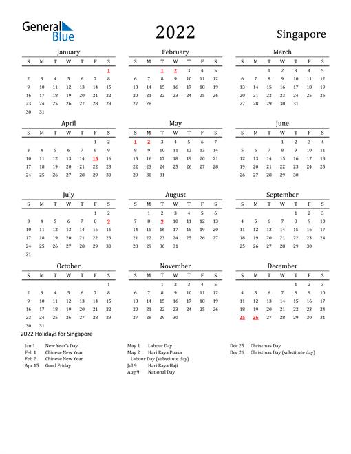 Singapore Holidays Calendar for 2022