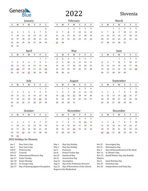 Slovenia Holidays Calendar for 2022
