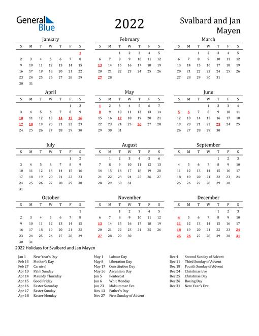 Svalbard and Jan Mayen Holidays Calendar for 2022