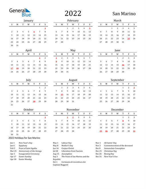 San Marino Holidays Calendar for 2022