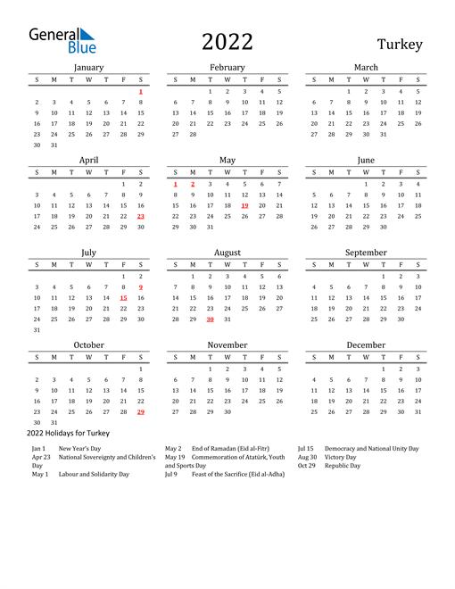 Turkey Holidays Calendar for 2022