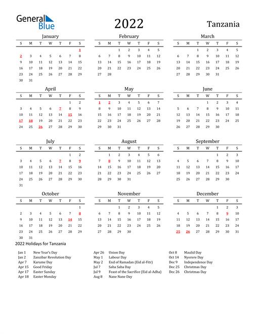 Tanzania Holidays Calendar for 2022