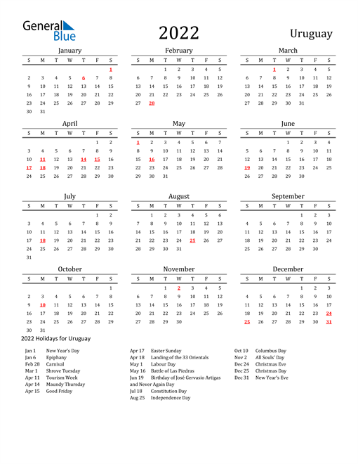 Uruguay Holidays Calendar for 2022