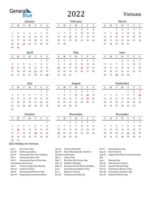 Vietnam Holidays Calendar for 2022